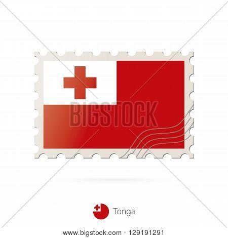 Postage Stamp With The Image Of Tonga Flag.