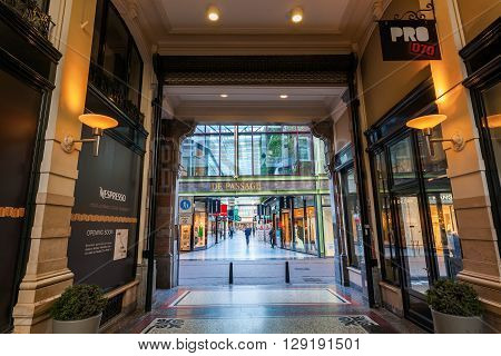 The Hague Netherlands - April 21 2016: The Passage in The Hague. Its the only example in Netherlands of covered shopping street that was popular in European and American cities during 19th century