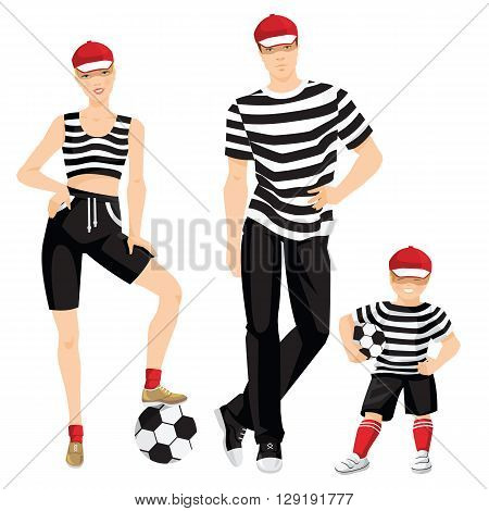 Vector illustration of family in sportswear isolated on white background. Pretty girl and little boy in black sport shorts, top, red cap, red socks and sneakers. Little boy with soccer ball.