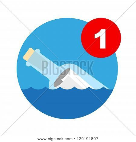 Message In A Bottle Icon. Vector Illustration Of A Message Bottle Which Is To Be Used As A Computer Icon For Incoming Mail Notification