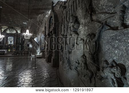 KRAKOW, POLAND -  13 DECEMBER 2015 :Bas-reliefes in St. Kinga's Chapel  - 101 meters underground in Wieliczka Salt Mine  on 13 DECEMBER 2015