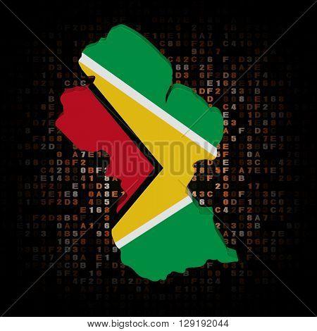 Guyana map flag on hex code 3d illustration