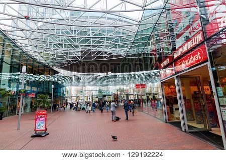 Zoetermeer Netherlands - April 22 2016: shopping center Spazio with unidentified people. From villages with 10000 inhabitants Zoetermeer grew up after 1962 to a city with 100.000 inhabitants 1991