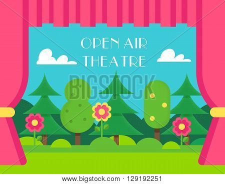 Nature Landscape and Theatre Curtains. Open Air and Outdoor Theatre Vector Illustration