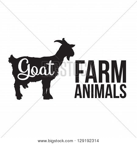 Black contour farm animal with a white lettering inscription inside, Logo goat animal, outline for the product, illustration contour farming goat with lettering on the mutton meat