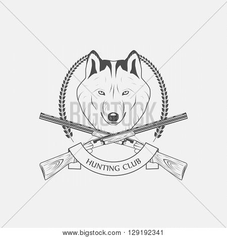 hunting wolves label hunting club vector illustration