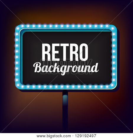 billboard in retro style with lights. Blank sign with lights in the night city. Clear place for your text vintage style. illustration.