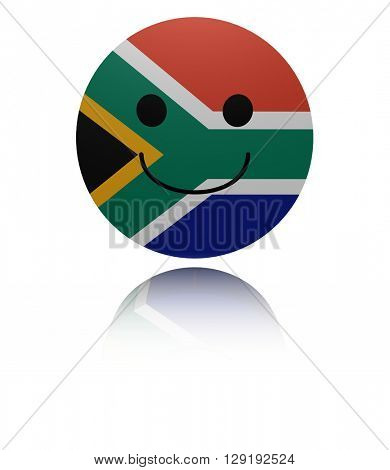 South Africa happy icon with reflection 3d illustration