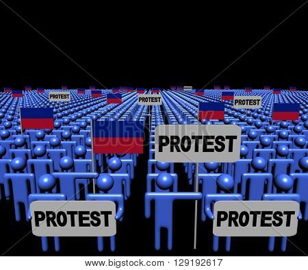 Crowd of people with protest signs and Haitian flags 3d illustration