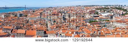 Lisbon Historical Old City Panorama  in Portugal