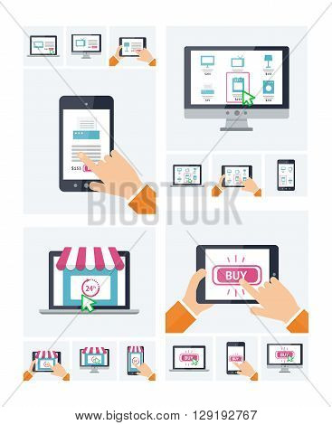 Flat design online shop website symbol on various devices, purchasing via internet, on-line shopping infographic template, e-commerce paying nfc. Online store, button, products