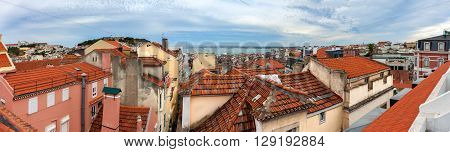 Panoramic View Of Red Roofs In Lisbon, Portugal