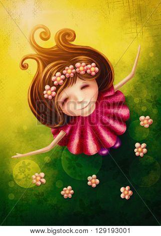 Little fairy girl in spring
