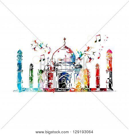 Vector illustration of colorful Taj-mahal with hummingbirds