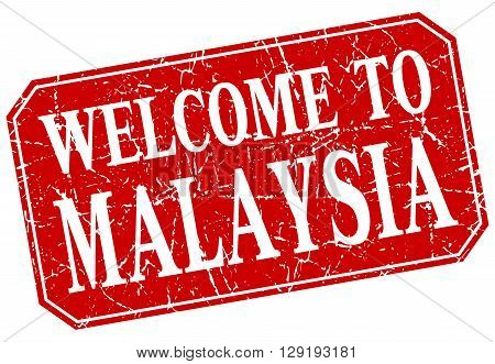 welcome to Malaysia red square grunge stamp