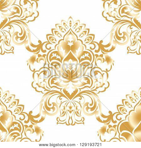 Vector Classic Baroque floral damask pattern background. Luxury classic floral damask ornament royal Victorian vintage texture for wallpapers textile fabric. Taupe color