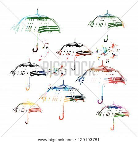 Vector illustration of colorful umbrellas with hummingbirds