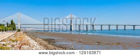 Vasco de Gama Bridge in Lisbon Portugal