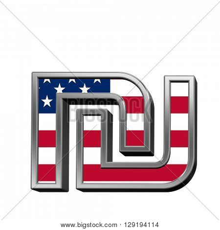 Sheqel sign from american flag alphabet set isolated over white. 3D illustration.