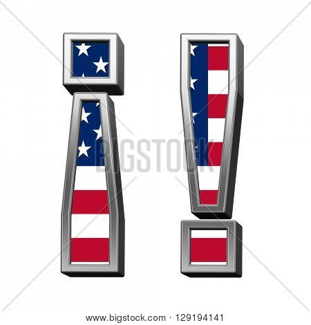 Exclamation mark from american flag alphabet set isolated over white. 3D illustration.