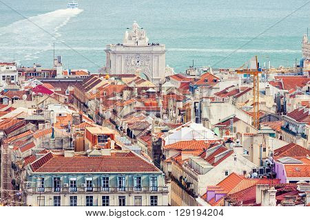 Aerial View Of Baixa District In Lisbon, Portugal