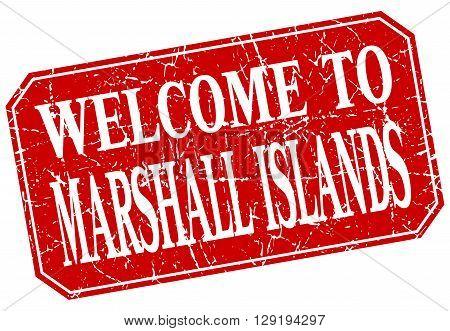 welcome to Marshall Islands red square grunge stamp