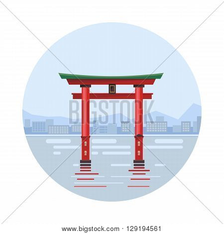 Japan at the floating gate icon isolated on white background. Vector illustration for famous building design. Travel tour postcard. With blue sky. Japanese landmark symbol Touristic asian torii temple
