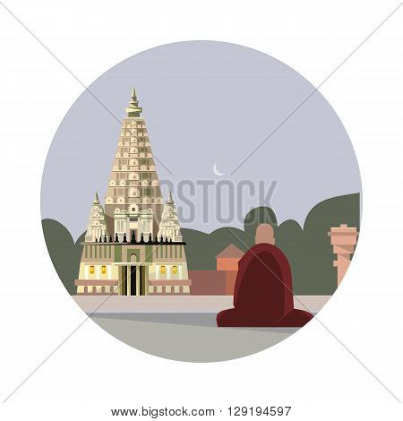 Temple of mahabodhi icon isolated on white background. Vector illustration for famous india building design. Travel tour buddhism postcard. Buddhist landmark symbol Touristic asian religion temple