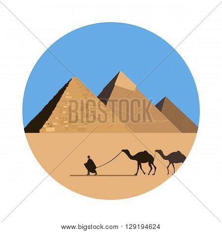 Egypt pyramid icon isolated on white background. Vector illustration for famous desert building design. Travel ancient postcard. Cairo giza stone landmark symbol. Touristic egyptian religion temple