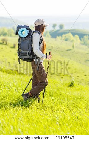 Woman Hiker Backpacker Enjoying Landscape View