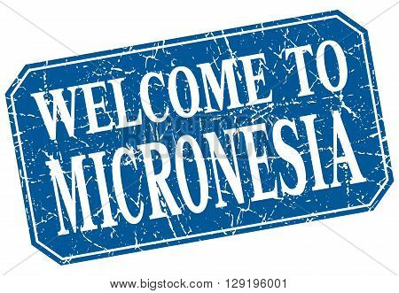 welcome to Micronesia blue square grunge stamp