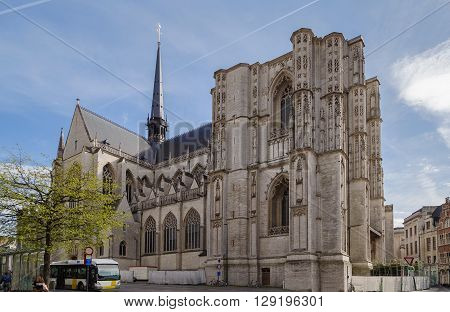 Saint Peter's Church of Leuven Belgium is situated on main market square. Built mainly in the 15th century in Brabantine Gothic style the church has a low bell tower that has never been completed.