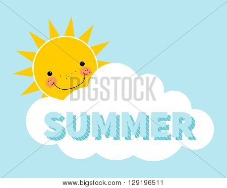 Cartoon summer background. Sun. Cloud. Design concept with happy smiley sun. Sun hiding behind cloud over blue background