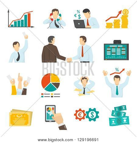 Stock Market Icons Set. Stock Market Vector Illustration. Finance Flat Symbols. Finance Design Set. Finance Elements Collection.