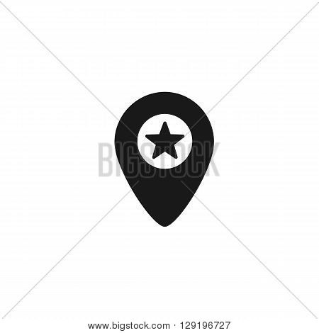 star pointer location computer icon web button business badge or label as sticker on white background