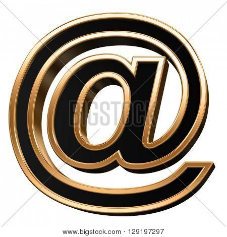 E-mail sign from black with copper shiny frame alphabet set, isolated on white. 3D illustration.