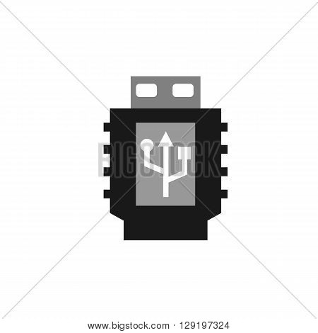 USB connector plug computer icon web button business badge or label as sticker on white background