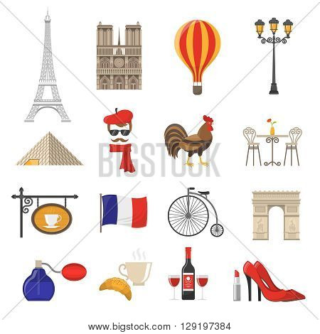 France Icons Set.France Vector Illustration.France Flat Symbols.Paris Design Set. Paris Elements Collection.