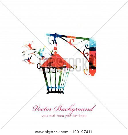 Vector illustration of colorful street lamp with hummingbirds