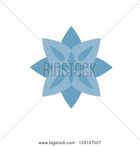 Yoga floral pattern Buddhism computer icon web button business badge or label as sticker on white background