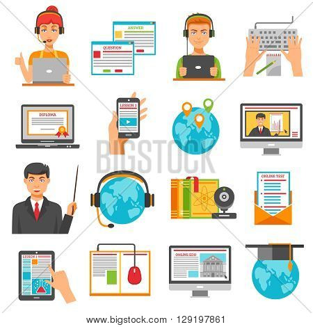 Online education decorative icon set of students with headphones at notebook pad and phone in human hands monitor with mentor lesson isolated vector illustration