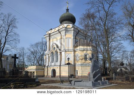 View of the Church of St. Nicholas at Nicholas cemetery. Alexander Nevsky Lavra, Saint Petersburg