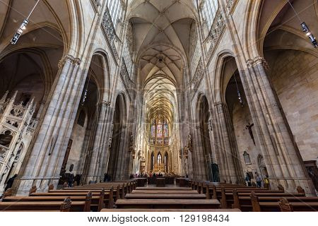 PRAGUE, CZECH REPUBLIC - APRIL 28, 2016  Interior of St. Vitus Cathedral, Prague, Czech Republic. Gothic architecture. Famous for the Chapel of St. Wenceslas, where the relics of the saint are kept.