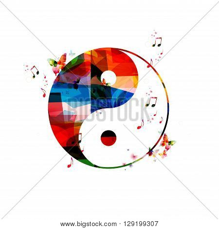 Vector illustration of colorful ying yang  with butterflies