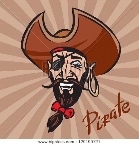 Jolly Pirate cartoon head in a hat