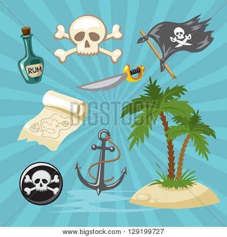 Pirate icon set for game. Pirate simbol
