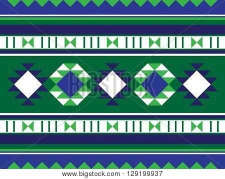 Green And Blue Middle Eastern Rug Pattern From The Arabian Gulf Region