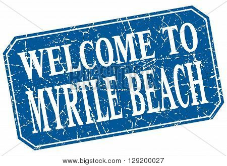 welcome to Myrtle Beach blue square grunge stamp