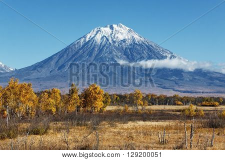 Kamchatka Peninsula landscape: beautiful autumn view of the active Koryak Volcano and blue sky on a clear sunny day. Eurasia Russian Far East Kamchatka Region Avachinsky-Koryaksky Group of Volcanoes.