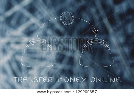 Coin Flying From One Purse To Another, Transfer Money Online
